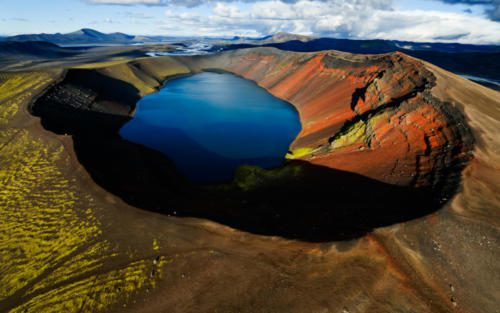 Lake in an old volcanic crater or caldera, Iceland